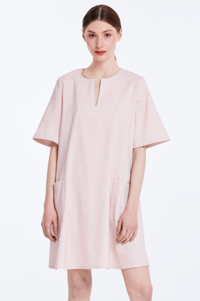e205447ee7b Loose-fitting powder pink linen dress with pockets photo 1 - MustHave  online store