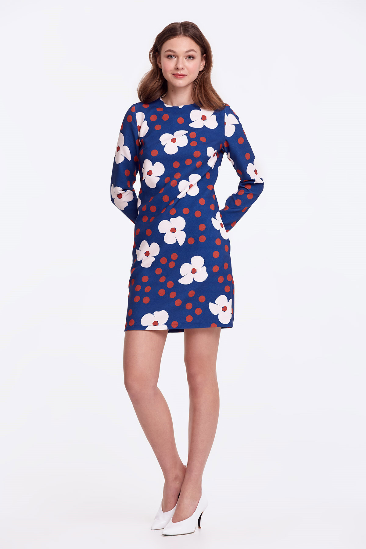 dc3f1a12509 Column blue dress with white flowers photo 3 - MustHave online store