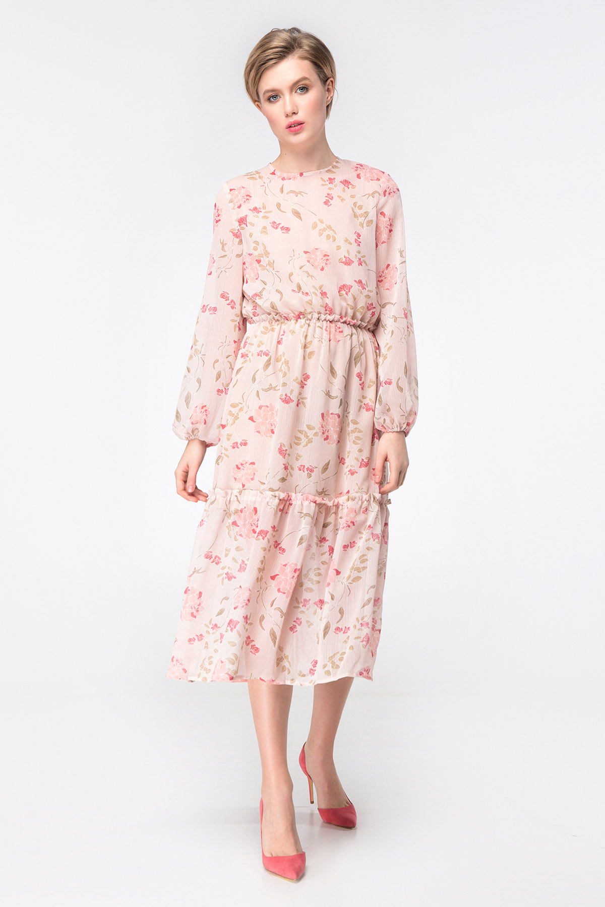 3e1d4a2cdca4 Beige midi dress with floral print photo 3 - MustHave online store