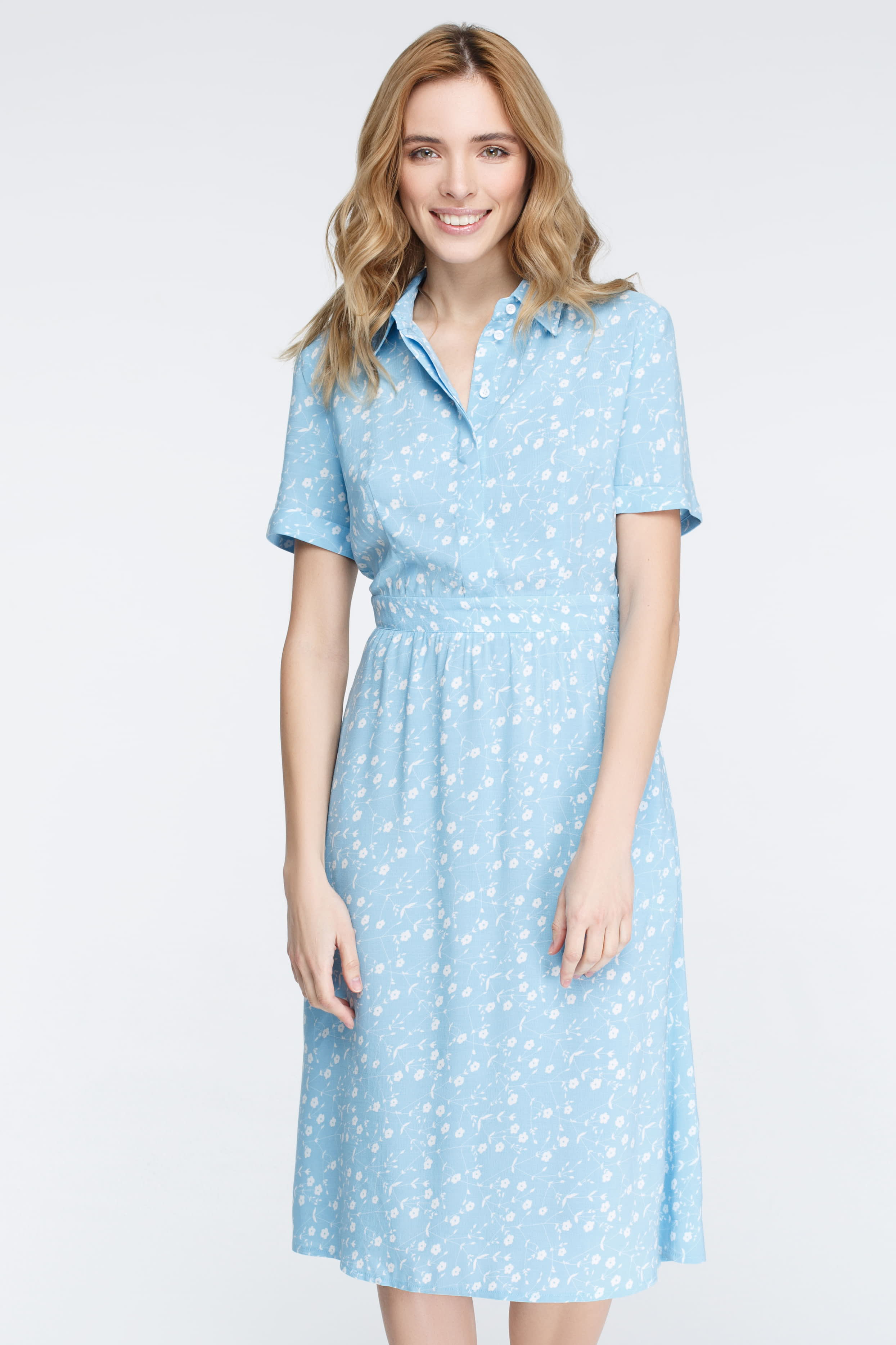 4d6b7d609ac Blue dress in print white flowers photo 3 - MustHave online store