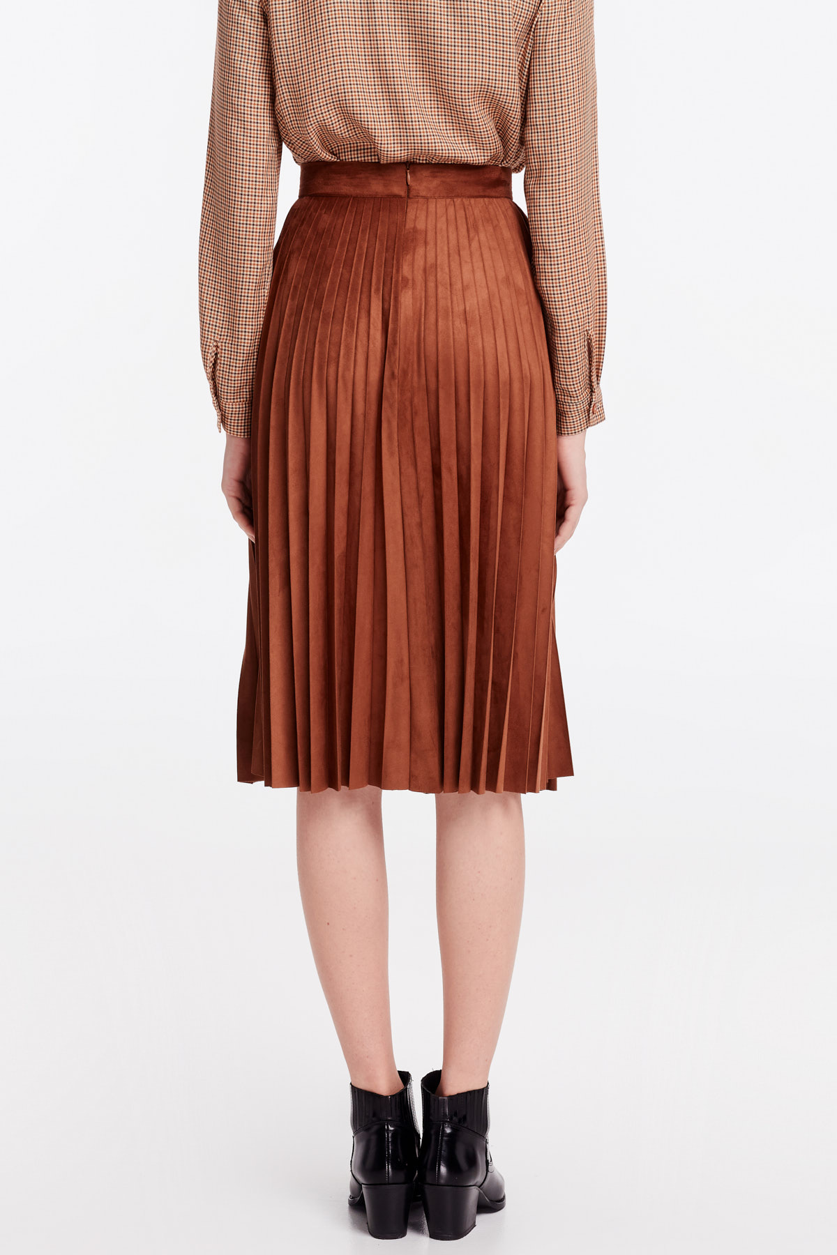53ba20db89 Brown suede pleated skirt photo 4 - MustHave online store