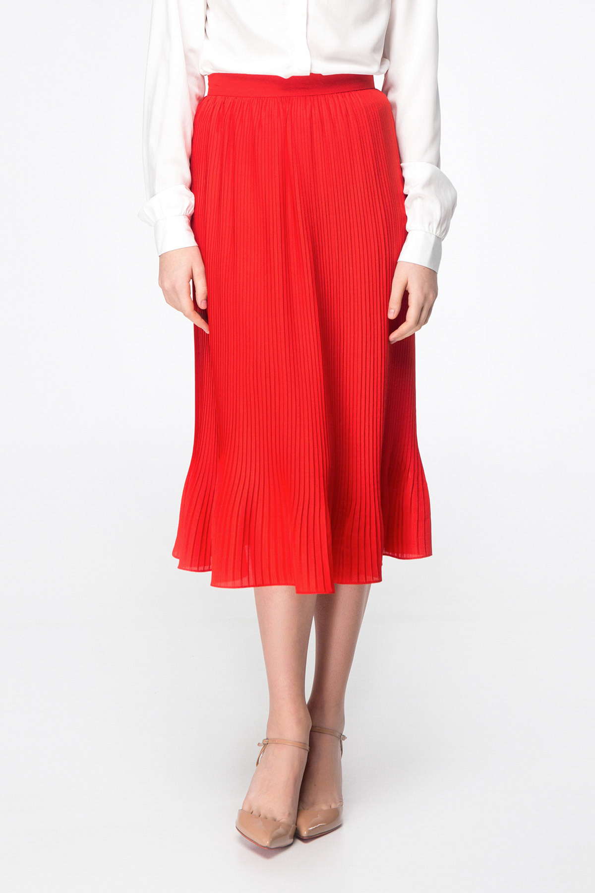 cc5adbfd479 Red pleated midi skirt photo 1 - MustHave online store