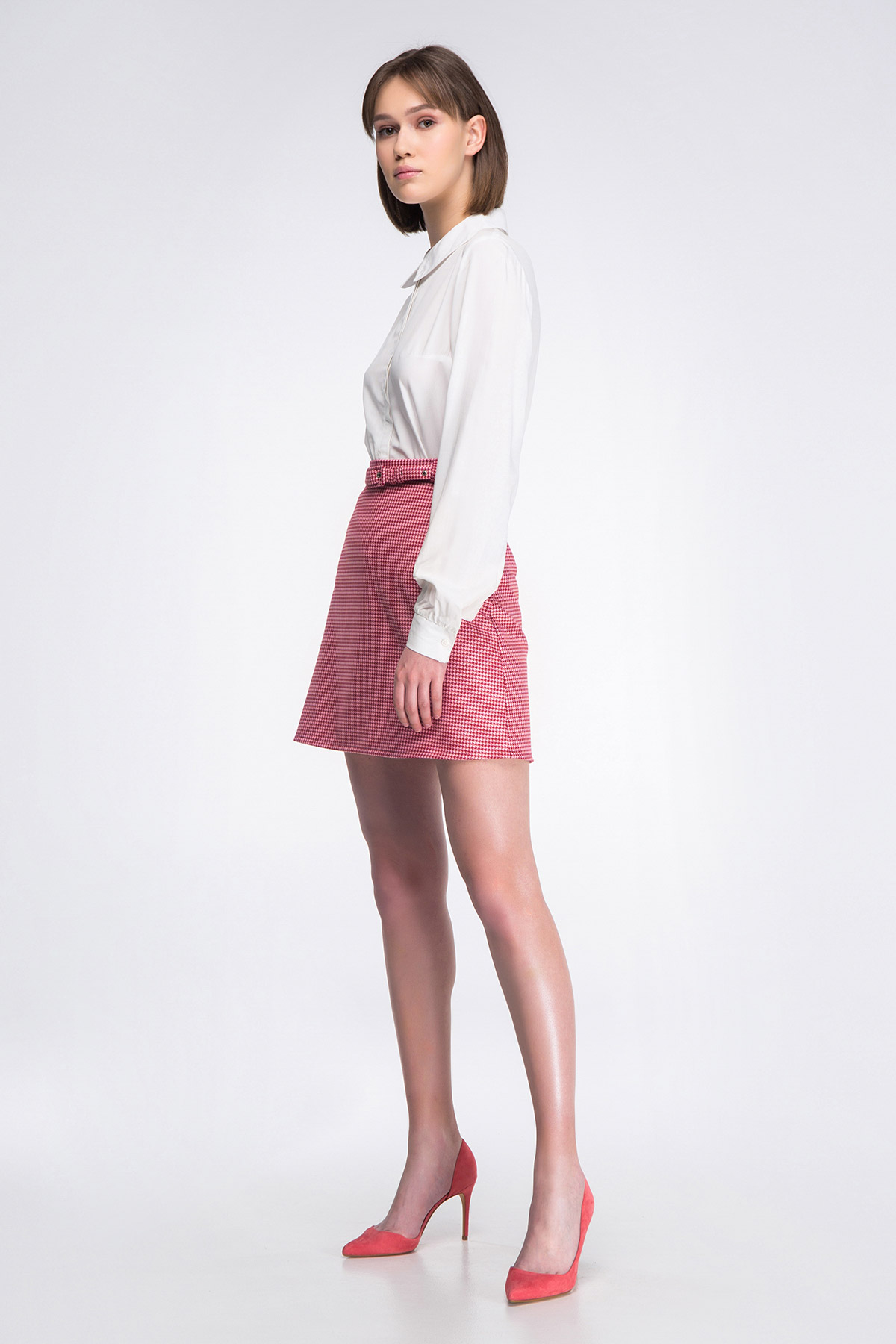 Pink Red Houndstooth Mini Skirtmusthave женские Skirts