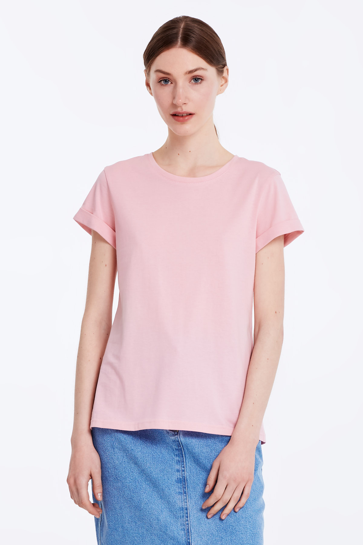 Pink T-shirt with cuffs photo 1 - MustHave online store