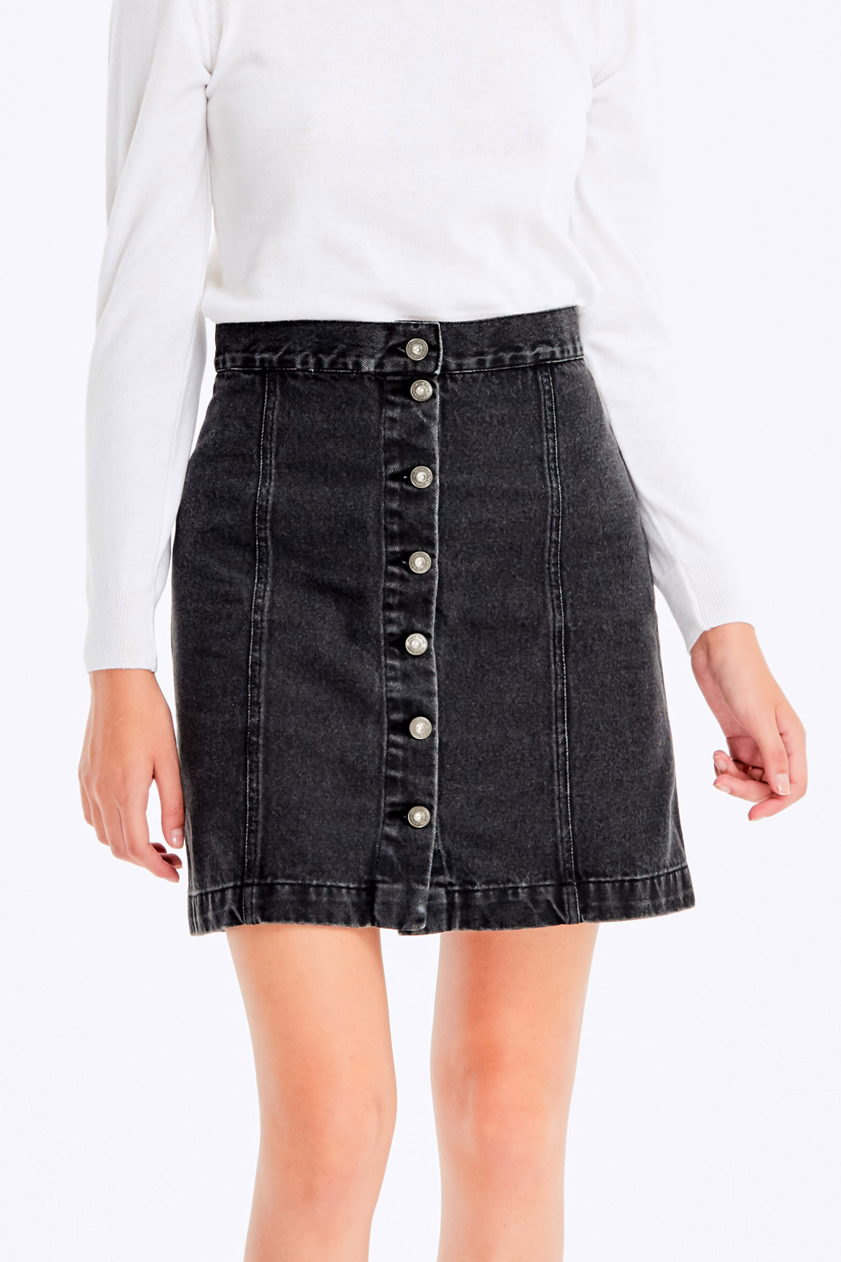 973d355b9b07 Black jeans skirt with buttons photo 1 - MustHave online store