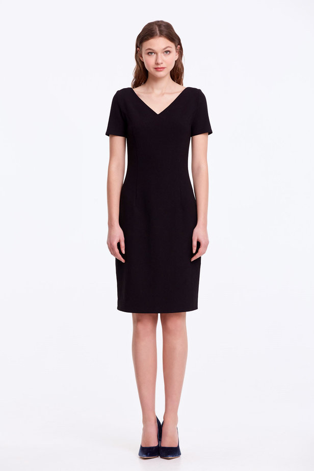 Column black dress with a V-shaped neckline photo 2 - MustHave online store