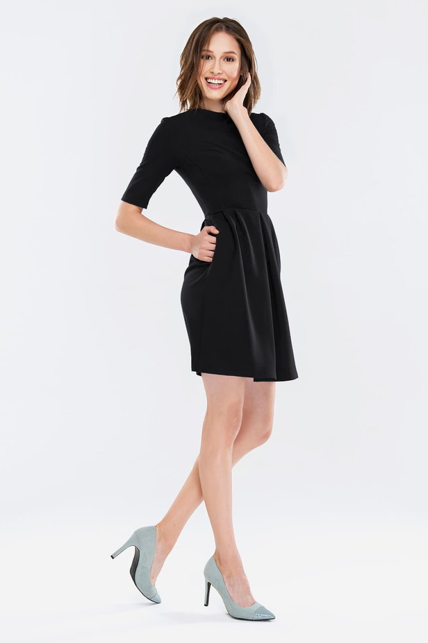 Black dress with folds photo 4 - MustHave online store