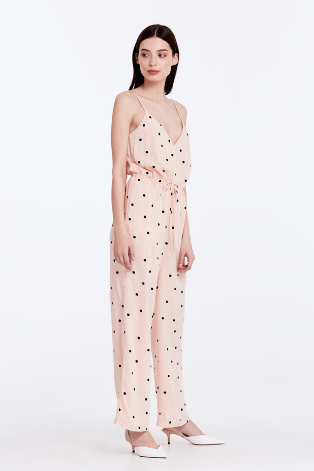 Beige jumpsuit with a black polka dot print photo 3 - MustHave online store