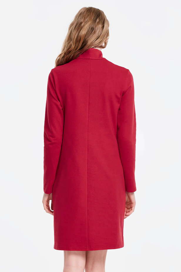 Red dress with a zip photo 2 - MustHave online store