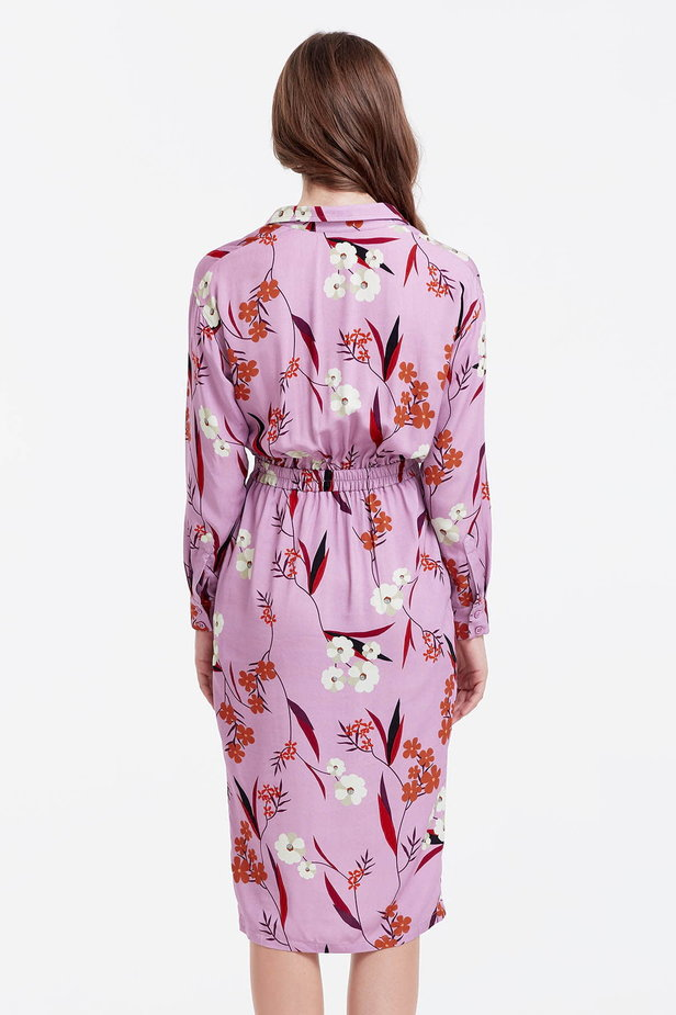 Wrap lilac dress with a floral print photo 4 - MustHave online store