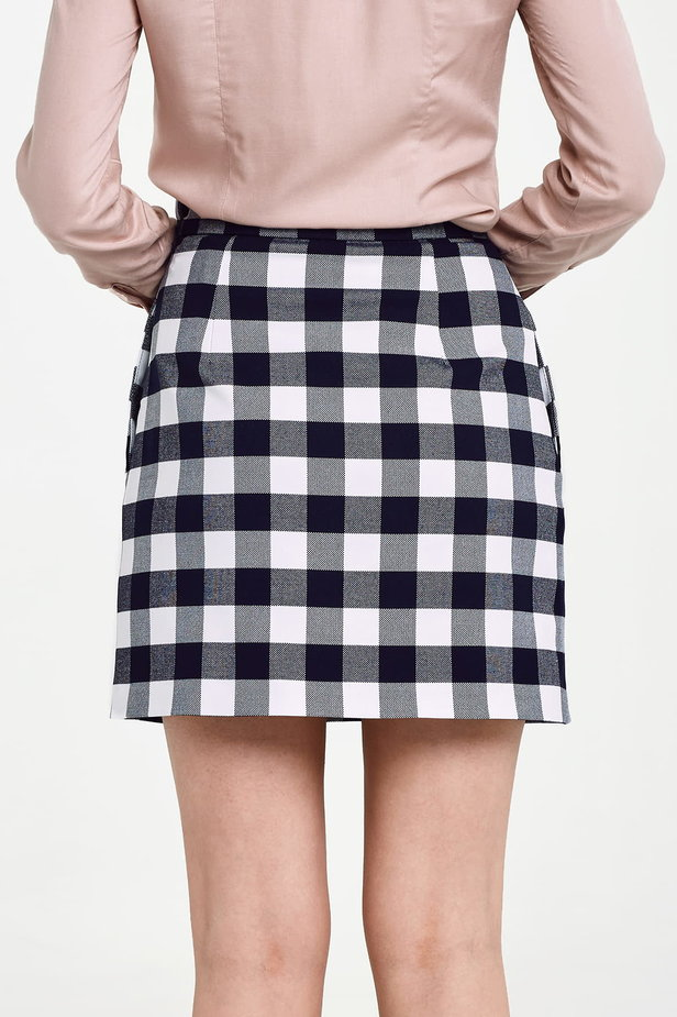 Blue and white checked mini skirt photo 5 - MustHave online store