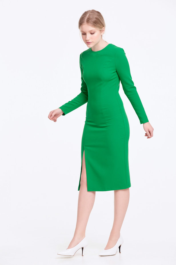 Column green dress with a slit photo 3 - MustHave online store