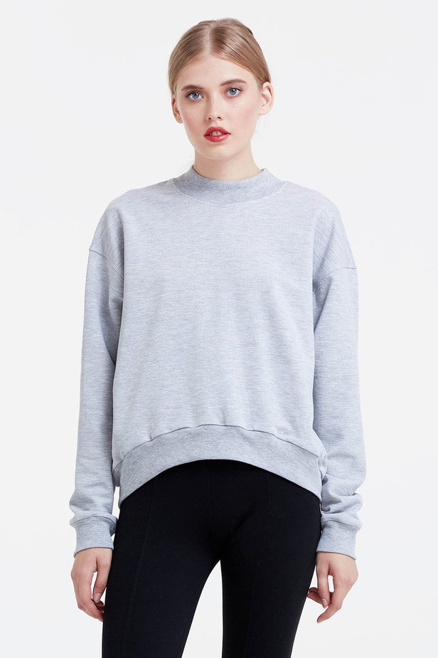 Grey sweatshirt with a zip at the back photo 1 - MustHave online store