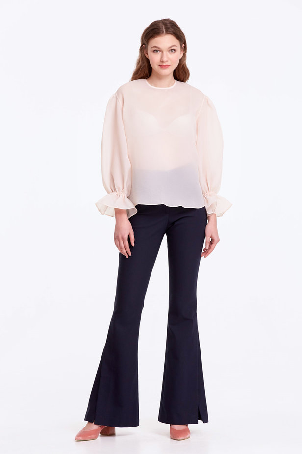 Beige organza blouse with balloon sleeves photo 2 - MustHave online store