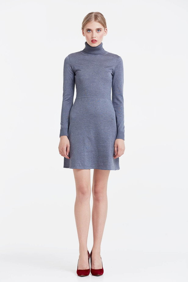 Grey knitted dress photo 2 - MustHave online store