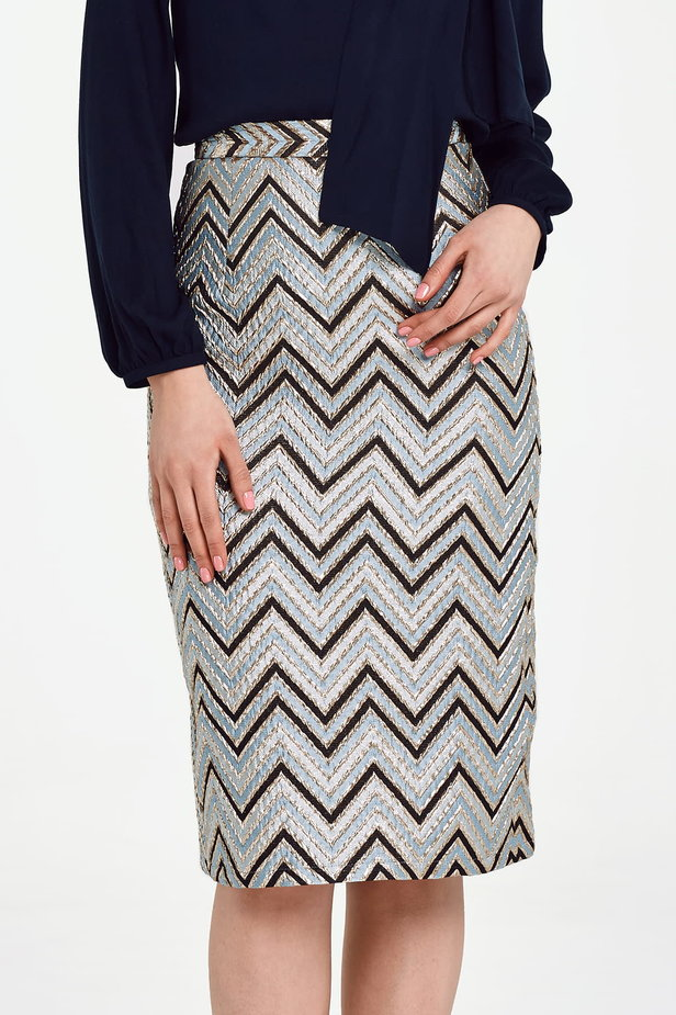 Blue skirt with black and gold zigzag below the knee photo 1 - MustHave online store