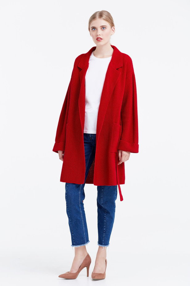 Red cardigan with a belt photo 5 - MustHave online store