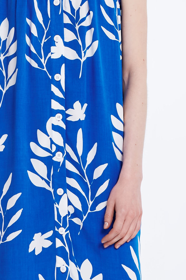 Blue sundress with white leaves and buttons photo 4 - MustHave online store