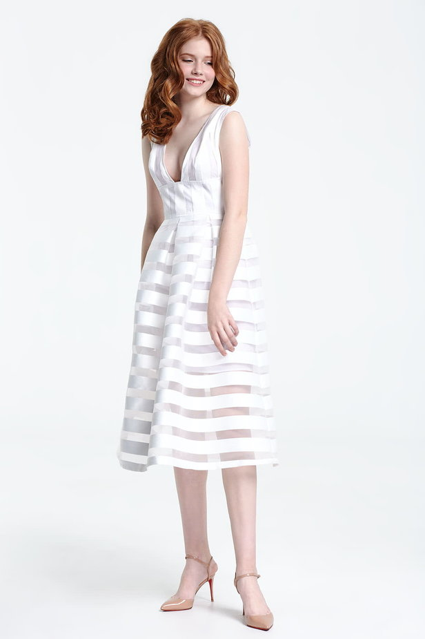 Midi striped white dress with a low neckline photo 5 - MustHave online store