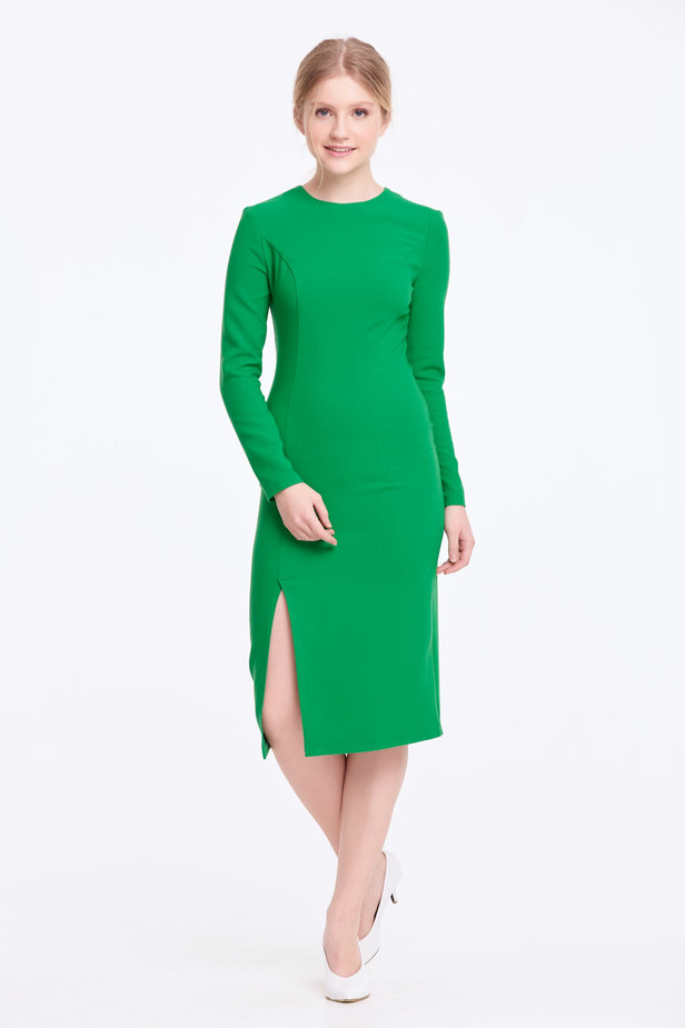 Column green dress with a slit photo 2 - MustHave online store