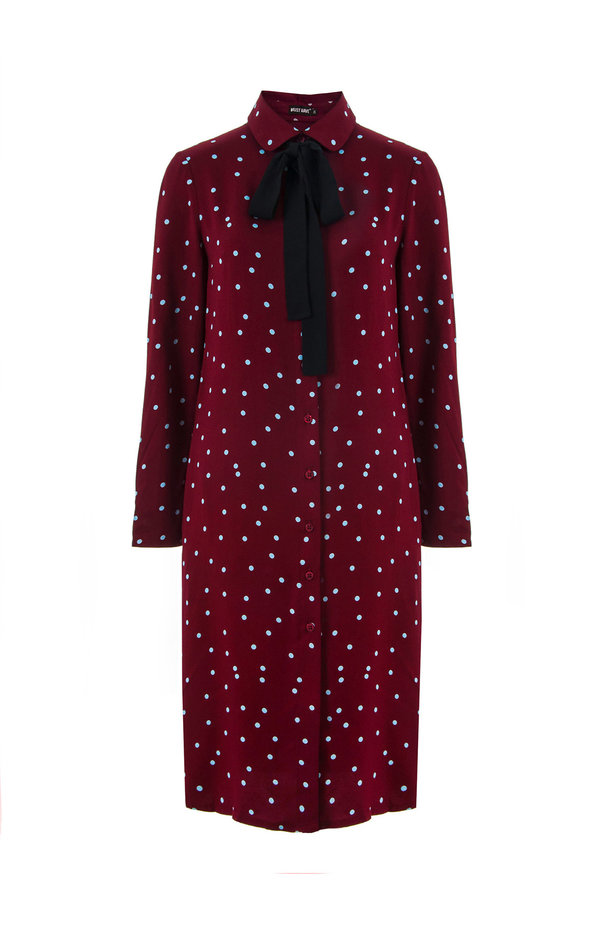 Wine dress with a blue polka dot print and a black bow photo 2 - MustHave online store