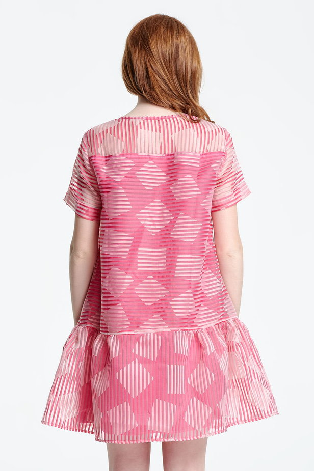 Above the knee striped pink dress with a flared skirt, rhombs print photo 4 - MustHave online store