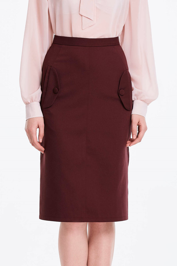 Burgundy skirt with pockets photo 2 - MustHave online store