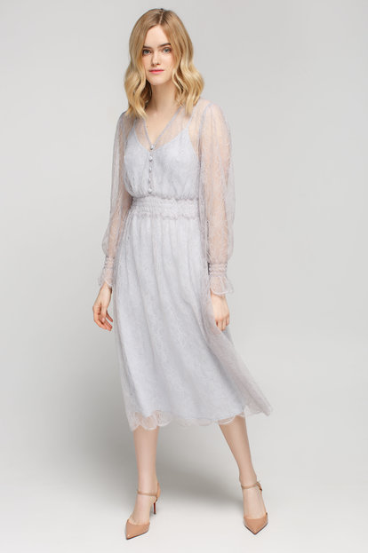 Grey lace midi dress with long sleeves and elastic waist