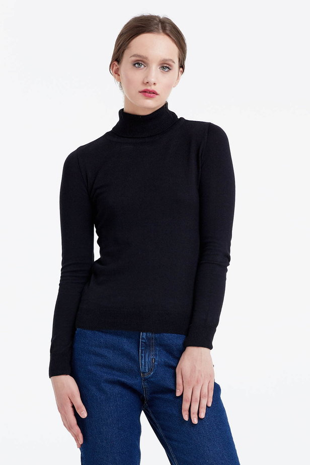 Black polo neck photo 1 - MustHave online store