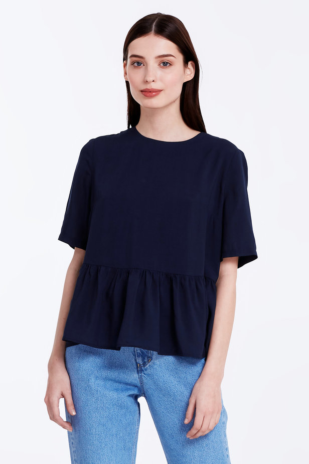 Dark-blue top with a flounce photo 1 - MustHave online store