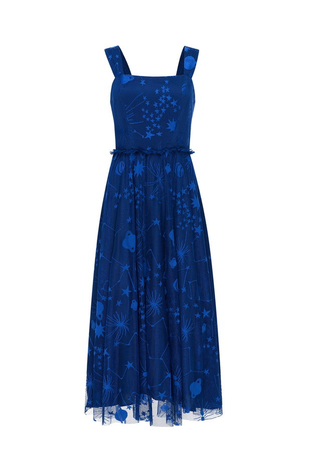Blue dress with a space pattern photo 8 - MustHave online store
