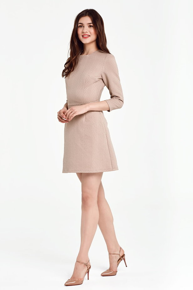 Above the knee A-line beige dress photo 2 - MustHave online store