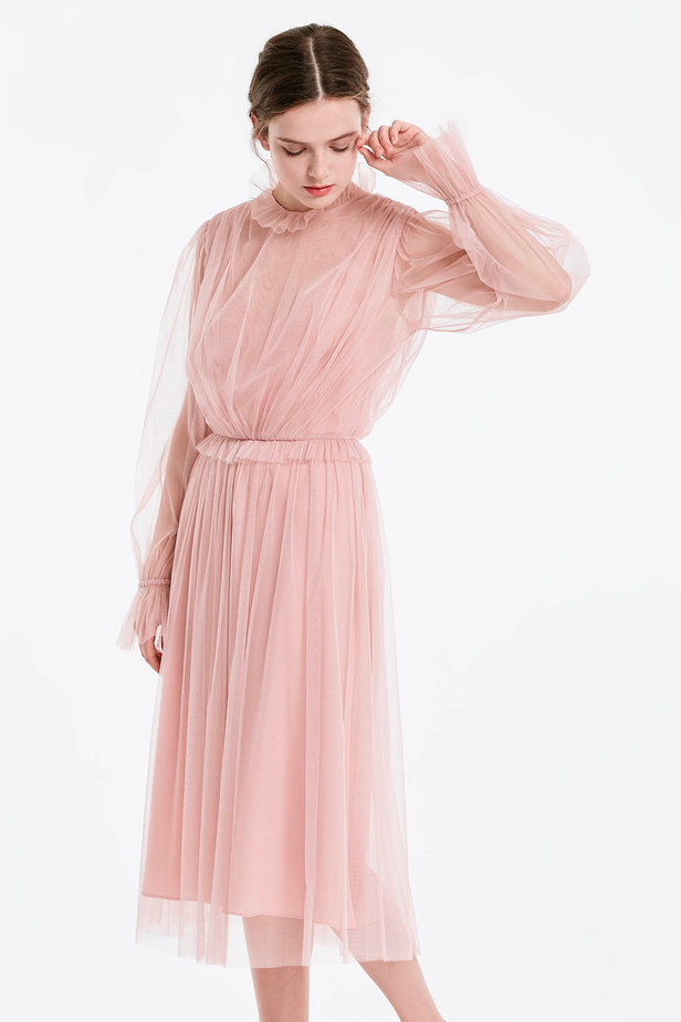 Below the knee powder pink dress with pleats photo 1 - MustHave online store