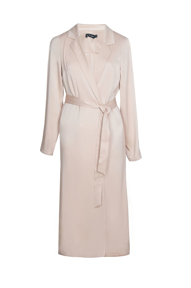 Below the knee wrap beige trenchcoat with a belt photo 2 - MustHave online store
