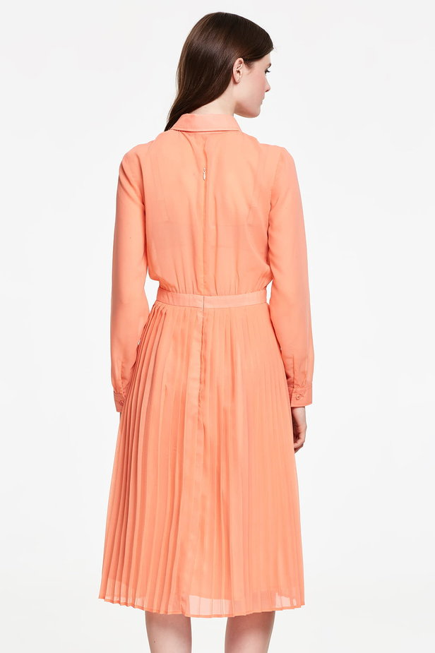 Below the knee orange shirt dress, pleated dress photo 4 - MustHave online store