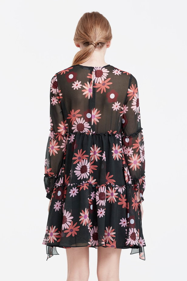 Dress with a floral print, flounces and ties photo 4 - MustHave online store