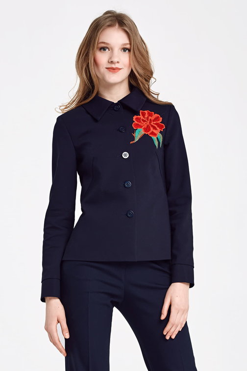 Dark blue jacket with a flounce and embroidery