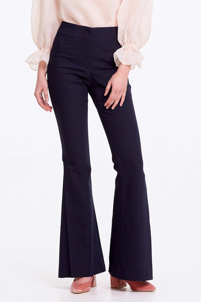 Flared dark blue trousers with slits