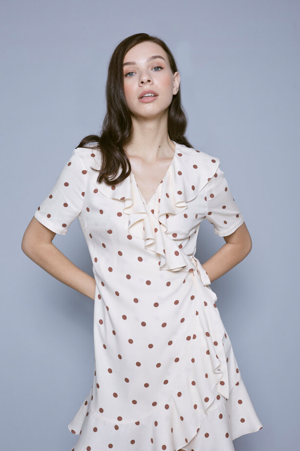 Ecru polka dot mini dress