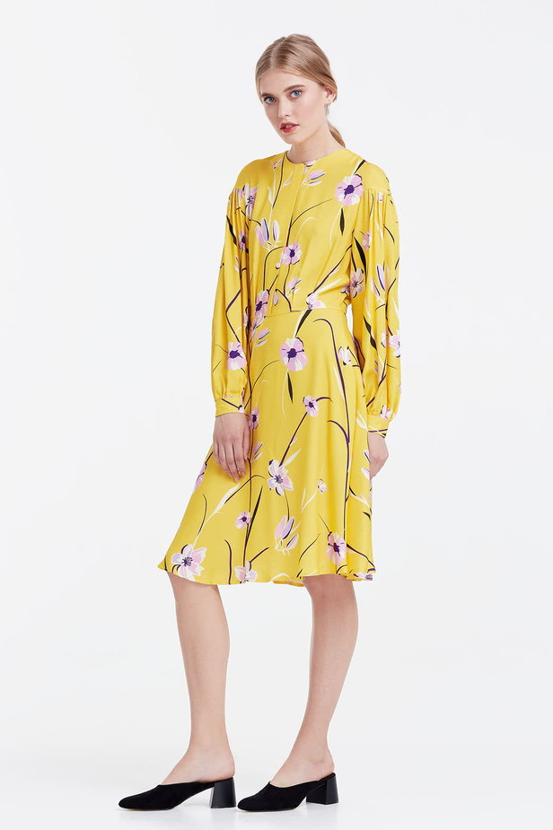 Yellow dress with a floral print and a concealed placket photo 2 - MustHave online store