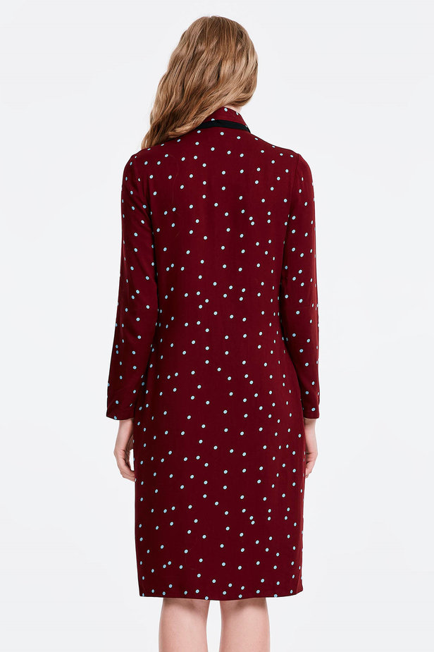 Wine dress with a blue polka dot print and a black bow photo 6 - MustHave online store