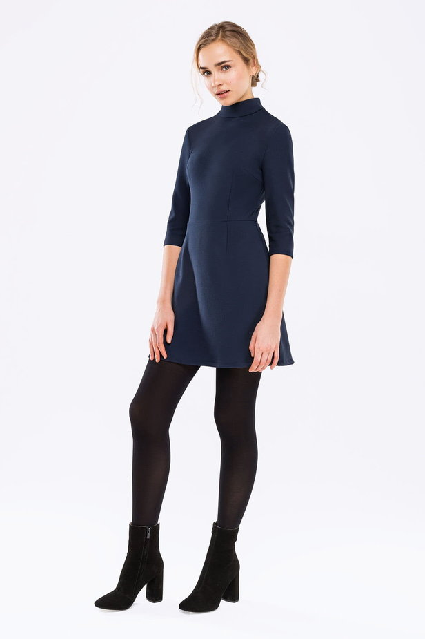 Blue A-line dress with a stand up collar photo 2 - MustHave online store