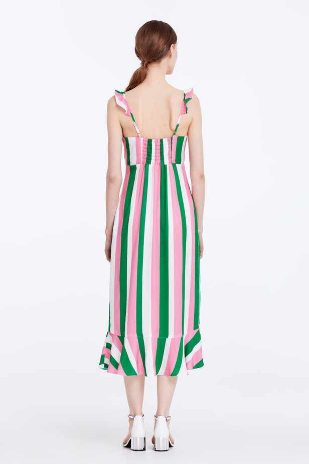 Sundress with white, green and pink stripes and a flounce photo 7 - MustHave online store