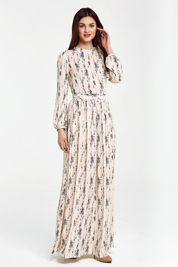 Maxi beige dress, floral print photo 5 - MustHave online store