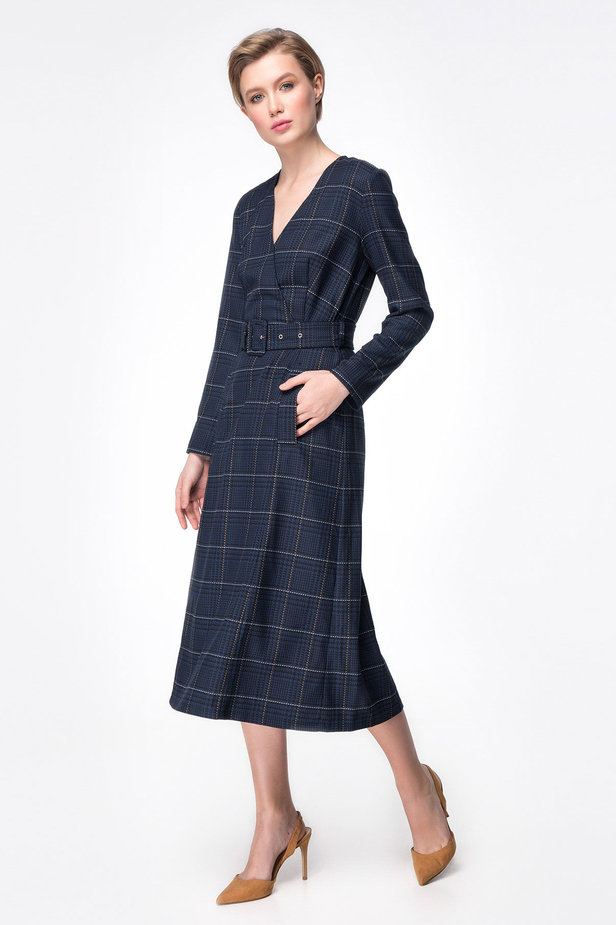 Dark-blue check dress with a waist photo 3 - MustHave online store
