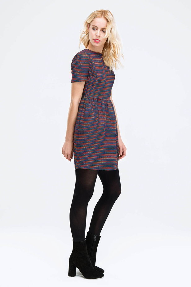 Above the knee striped dress with lurex photo 2 - MustHave online store