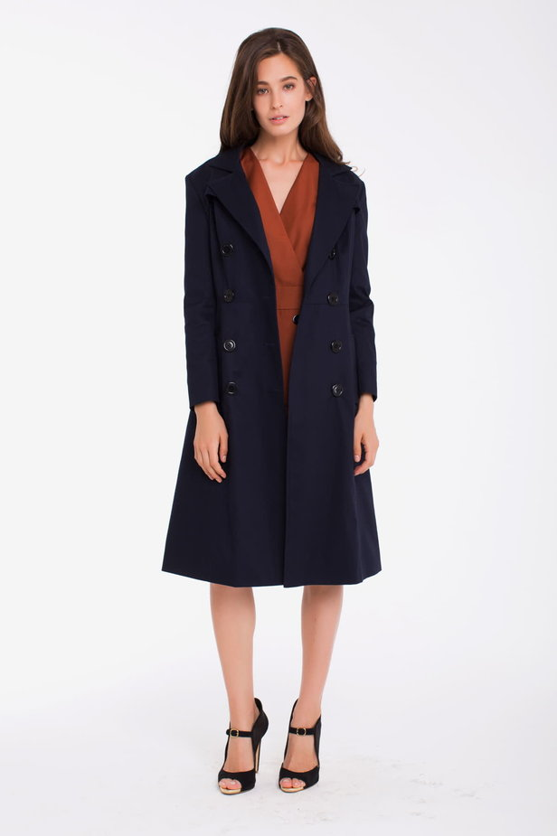 Double-breasted blue trenchcoat photo 1 - MustHave online store