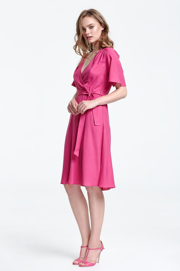 Below the knee wrap fuschia dress photo 2 - MustHave online store