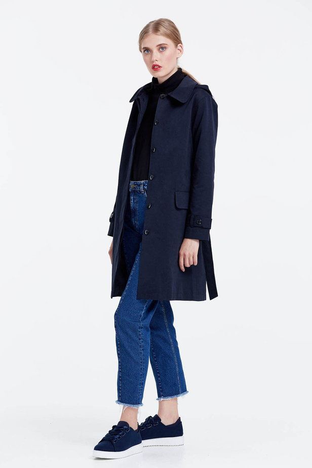 Dark blue trenchcoat with a hood photo 2 - MustHave online store