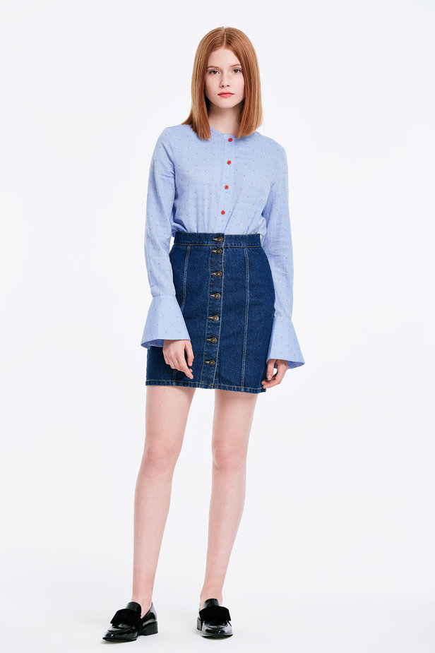 Mini denim skirt with buttons photo 3 - MustHave online store